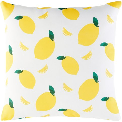 White Outdoor Cushion With Print Of Lemons 45x45
