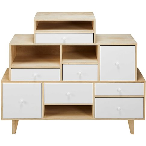 White Paulownia 8-Drawer Destructured Cabinet Spring