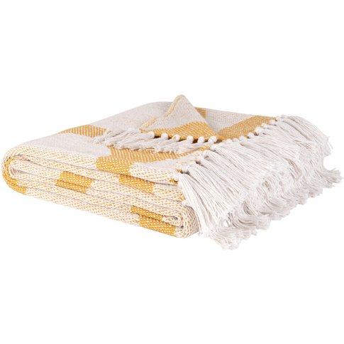 White Recycled Cotton Blanket With Yellow Circle Pri...