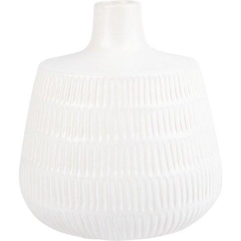 White Ribbed Ceramic Vase H18