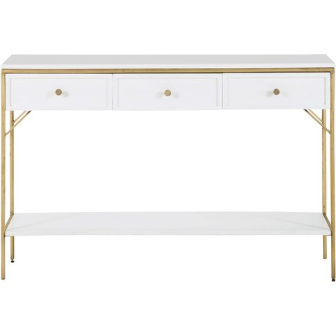 White Solid Acacia 3-Drawer Console Table Izmir