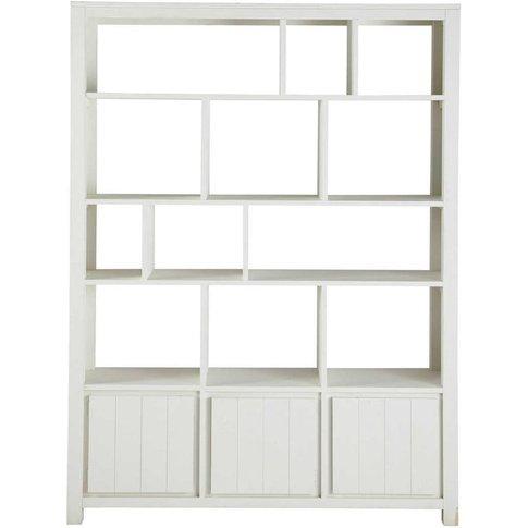 White Solid Pine 3-Door Bookcase White