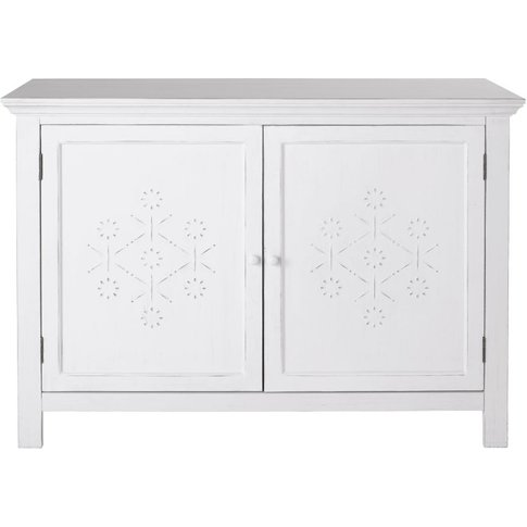 White Textured Decoration 2-Door Pine Sideboard Bianca
