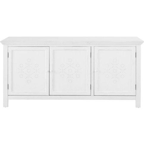 White Textured Decoration 3-Door Pine Sideboard Bianca