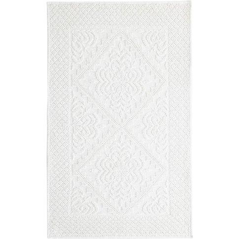White Tufted Cotton Bath Mat 65x100