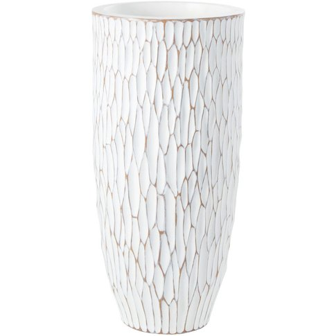 White Vase With Raised Design H70