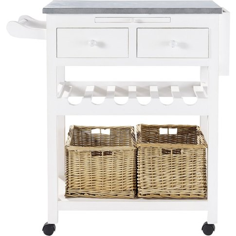 White Wood Kitchen Trolley with Wine Rack Sorgues