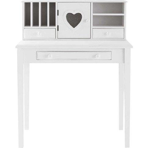 White Writing 1-Door 3-Drawer Desk Valentine