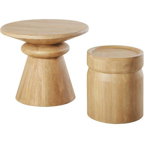 Whitewashed Solid Mango Wood Nesting Tables Nogobo