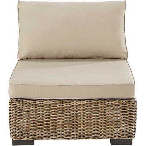 Wicker and fabric armless garden sofa in beige Fidji