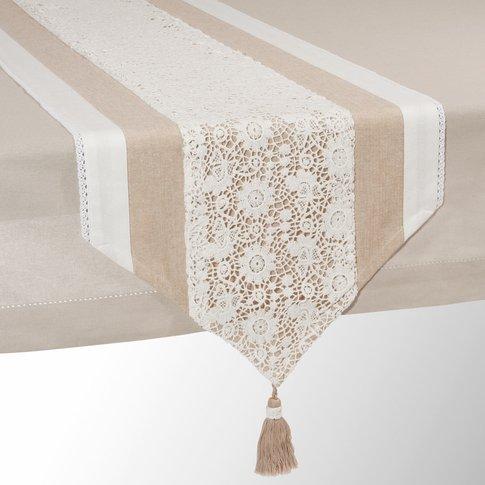 WONDERFUL beige cotton table runner L 150 cm