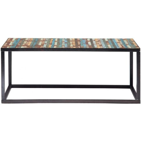 Wood And Metal Coffee Table, Multicoloured W 100cm B...