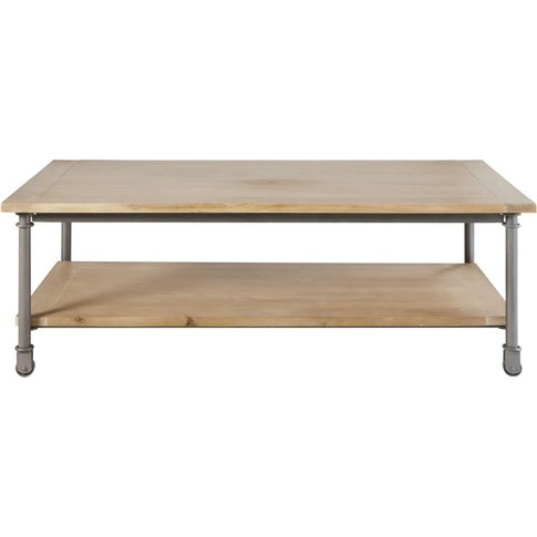 Wood And Metal Coffee Table On Castors W 135cm Archibald