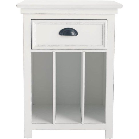 Wooden Bedside Table With Drawer In White W 45cm New...