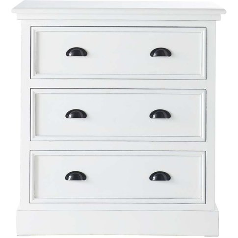 Wooden Chest Of Drawers In White W 80cm Newport