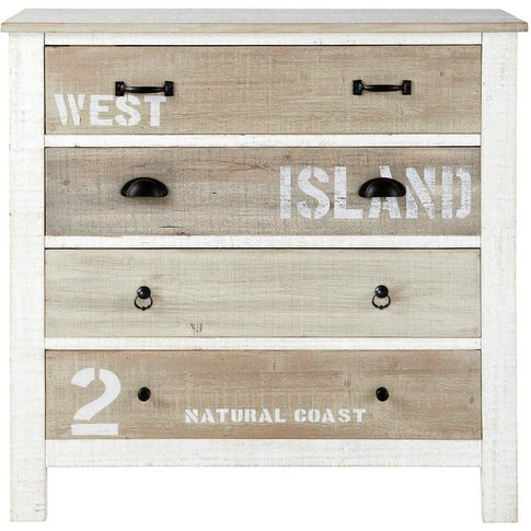 Wooden Chest Of Drawers In White W 90cm Noirmoutier