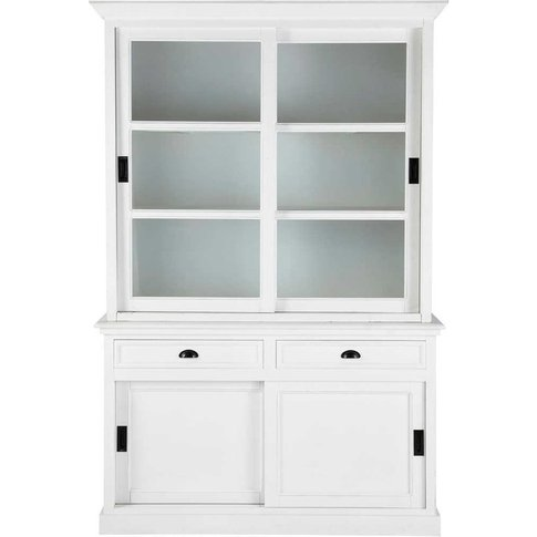 Wooden China Cabinet In White W 145cm Newport