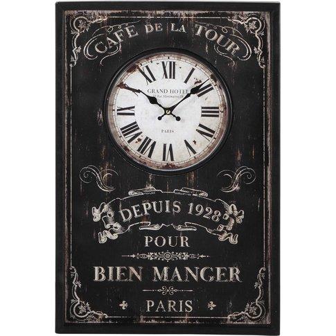 Wooden Clock in Black 40x60
