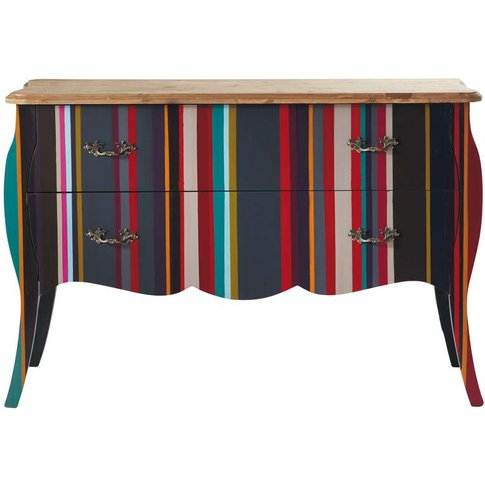 Wooden Striped Chest Of Drawers, Multicoloured W 120...