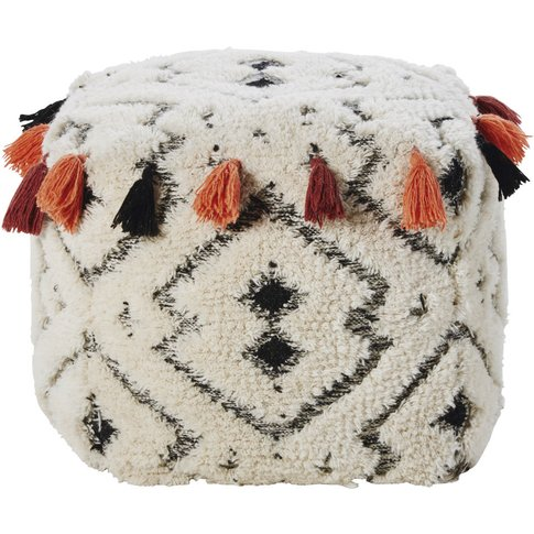 Wool And Cotton Pouffe With Tassels