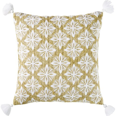 Woven Beige Outdoor Cushion With Embroidered Graphic...