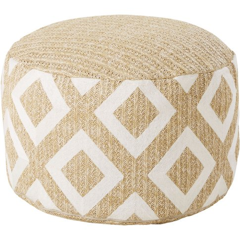 Woven Beige Outdoor Pouffe with White Graphic Print