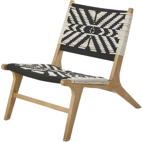 Woven Cotton Armchair With Ivory And Black Prints At...