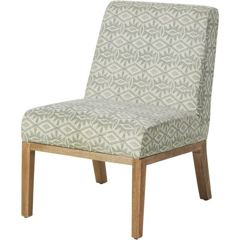 Woven Cotton Armchair with Ivory and Khaki Green Pri...