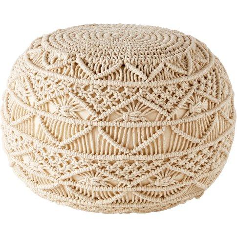 Woven Cotton Macramé Pouffe