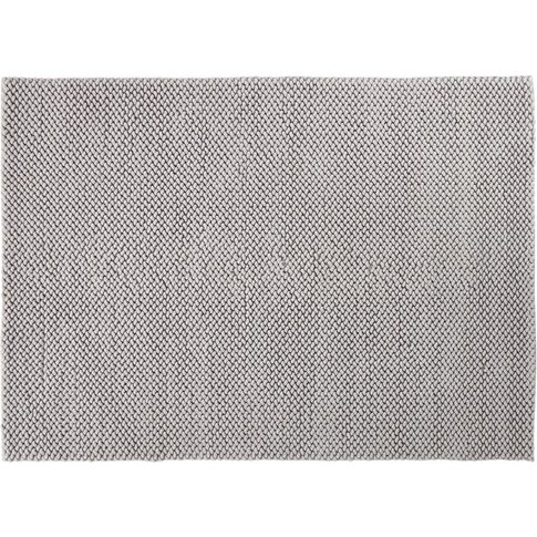 Woven Cotton Rug In Grey 140x200