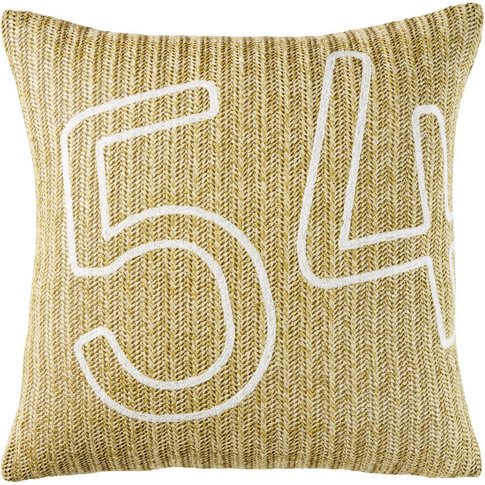 Woven Outdoor Cushion with White Numbers Print 45x45