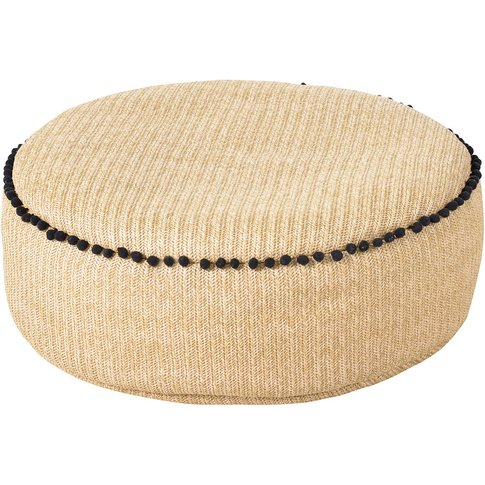 Woven Pouffe With Black Pompoms