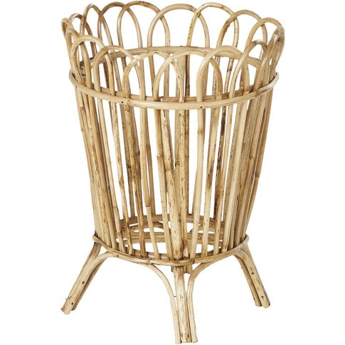 Woven Rattan And Bamboo Planter H40