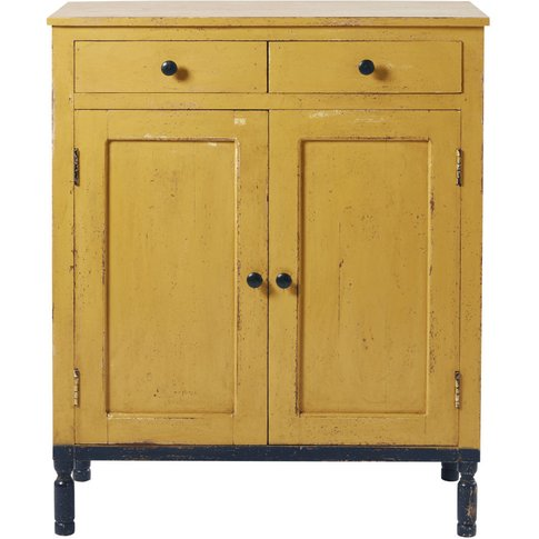Yellow And Black Solid Mango Wood 2-Door 2-Drawer Ta...