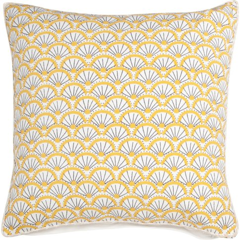Yellow and Ecru Cotton Cushion Cover with Print 40x40