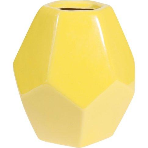 Yellow Ceramic Vase H 21 Cm Origami