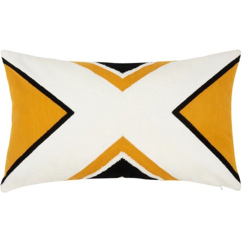 Yellow Cotton Cushion Cover With Black And White Pri...