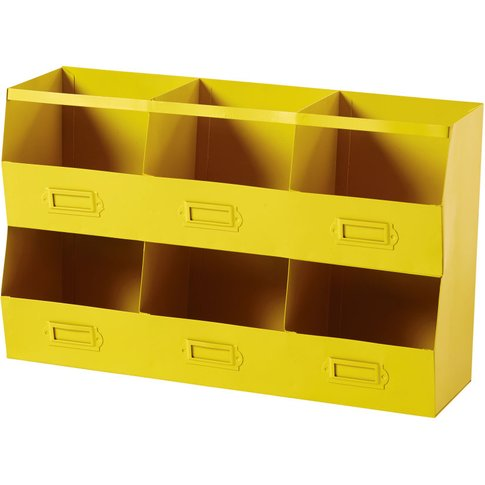 Yellow Metal Shelving Unit With 6 Compartments