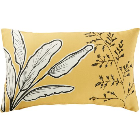 Yellow Outdoor Cushion with Plant Print 30x50