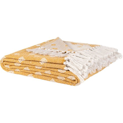Yellow Recycled Cotton Blanket With White Graphic Pr...