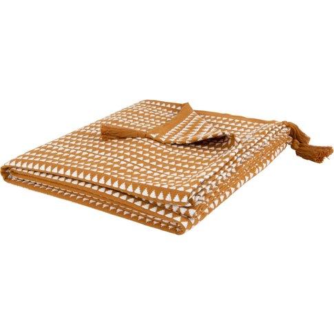 Yellow Woven Cotton Blanket With Ecru Print 160x210