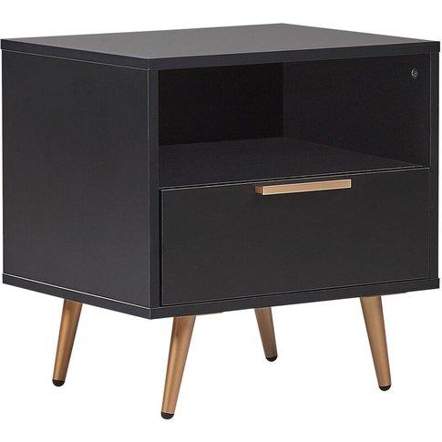 1 Drawer Bedside Table Black Indio - Beliani