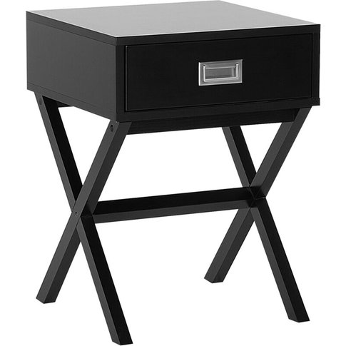 1 Drawer Bedside Table Black Monroe - Beliani
