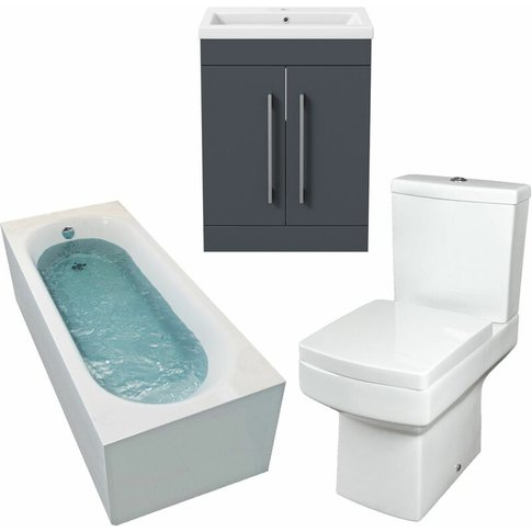 1800mm Bathroom Suite Single Ended Bath Toilet Vanity Unit Basin Modern - Affine