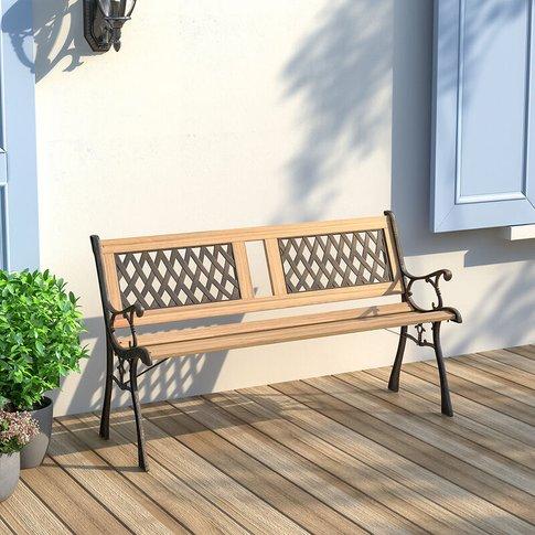 2-3 Seater Outdoor Wooden Garden Bench Patio Cast Iron Legs Park Seat Furniture 125x50x72cm - Livingandhome
