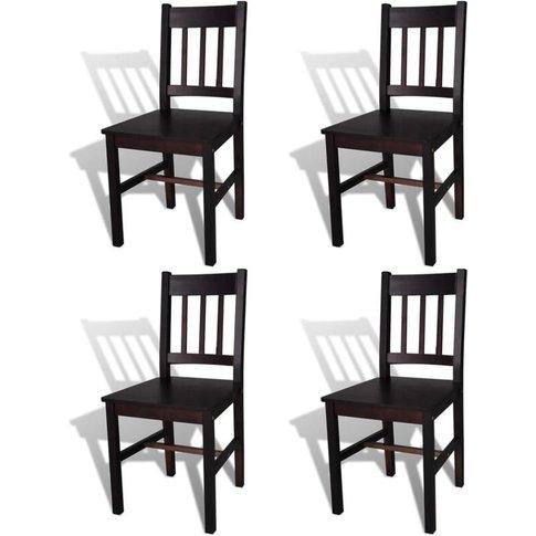 Dining Chairs 4 Pcs Pinewood Dark Brown - Vidaxl