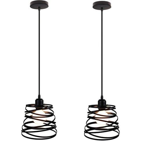 (2 Piece)Spring Shape Ø20cm Pendant Light Vintage In...