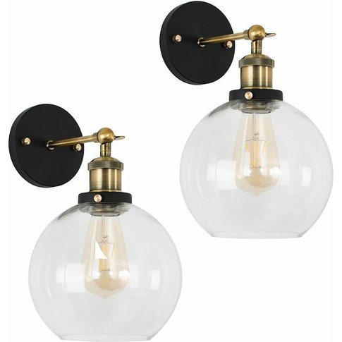 2 X Industrial Black & Gold Wall Light Fittings With...