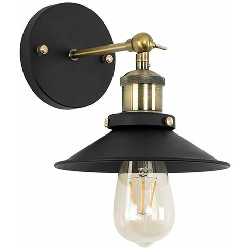 2 X Industrial Black & Brass Wall Lights + Shades + ...