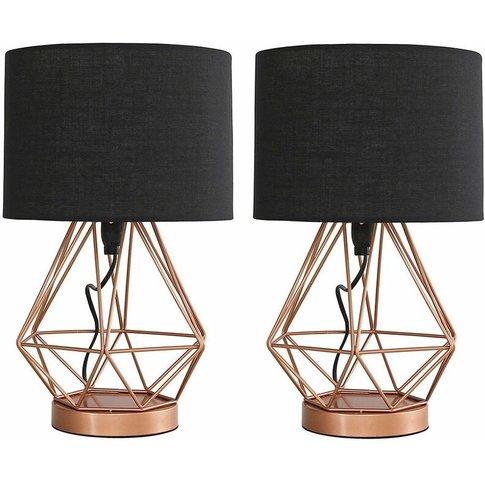 2 X Copper Touch Table Lamps + Black Shade - Add Led Bulbs - Minisun